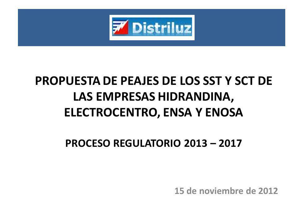 PROPUESTA DE PEAJES DE LOS SST Y SCT DE LAS EMPRESAS HIDRANDINA, ELECTROCENTRO, ENSA Y ENOSA PROCESO REGULATORIO 2013 – 2017 15 de noviembre de 2012