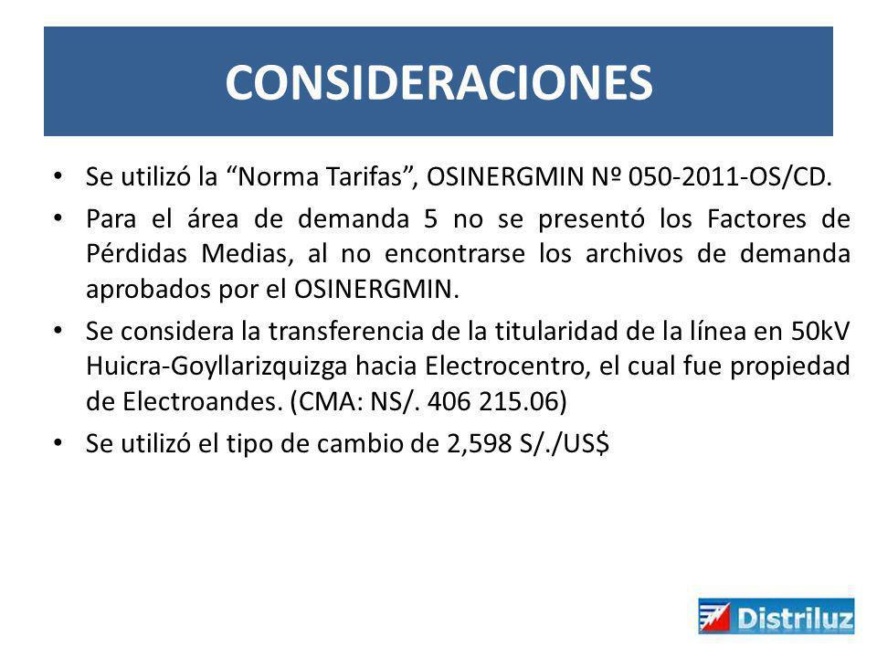 CONSIDERACIONES Se utilizó la Norma Tarifas, OSINERGMIN Nº 050-2011-OS/CD. Para el área de demanda 5 no se presentó los Factores de Pérdidas Medias, a