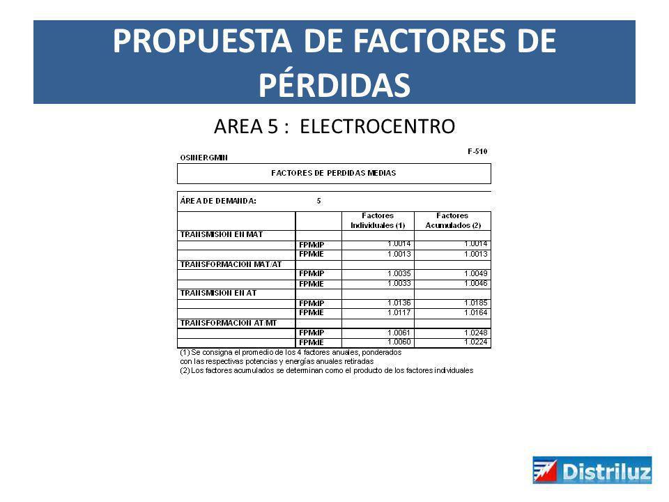 PROPUESTA DE FACTORES DE PÉRDIDAS AREA 5 : ELECTROCENTRO