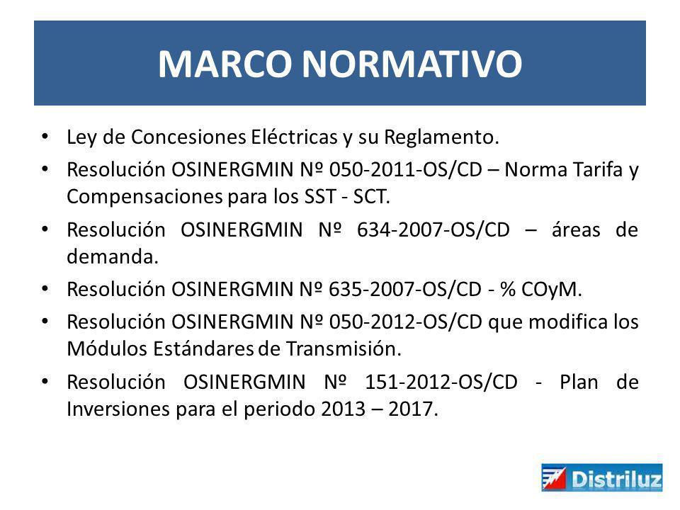 MARCO NORMATIVO Ley de Concesiones Eléctricas y su Reglamento. Resolución OSINERGMIN Nº 050-2011-OS/CD – Norma Tarifa y Compensaciones para los SST -