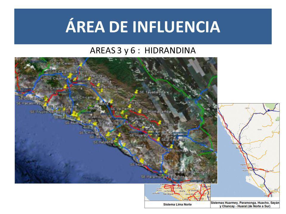 ÁREA DE INFLUENCIA AREAS 3 y 6 : HIDRANDINA