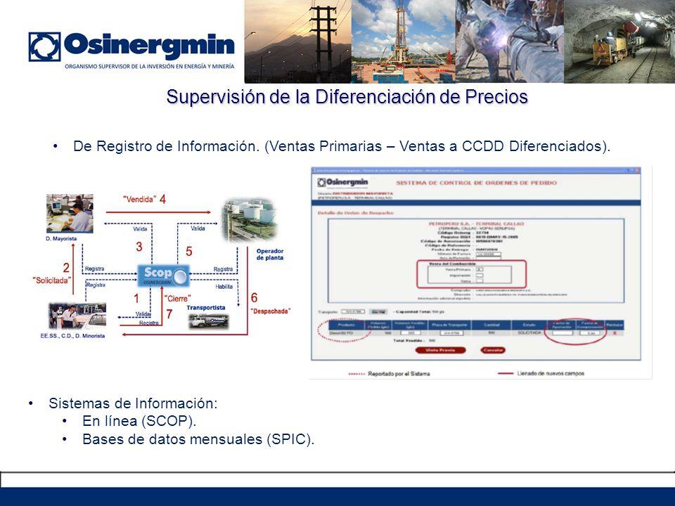 Supervisión de la Diferenciación de Precios De Registro de Información. (Ventas Primarias – Ventas a CCDD Diferenciados). Sistemas de Información: En