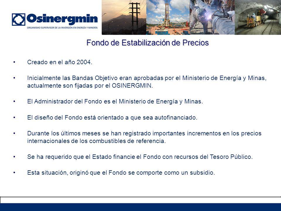 Fondo de Estabilización de Precios Creado en el año 2004. Inicialmente las Bandas Objetivo eran aprobadas por el Ministerio de Energía y Minas, actual