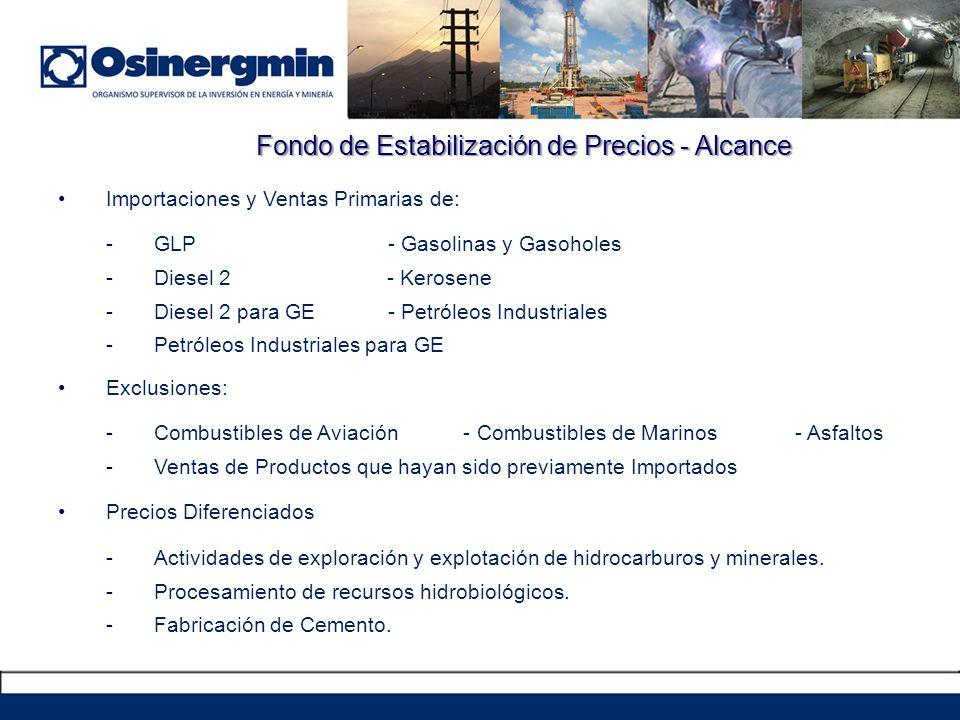 Fondo de Estabilización de Precios - Alcance Importaciones y Ventas Primarias de: -GLP - Gasolinas y Gasoholes -Diesel 2 - Kerosene -Diesel 2 para GE