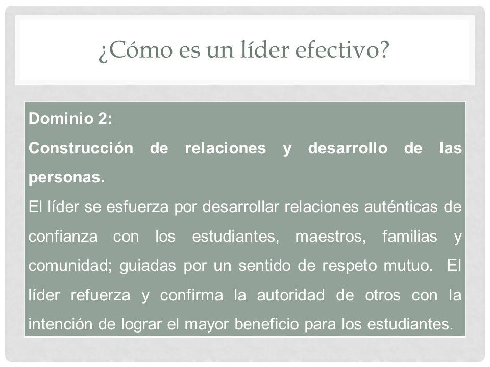 ¿Cómo es un líder efectivo. Dominio 2: Construcción de relaciones y desarrollo de las personas.