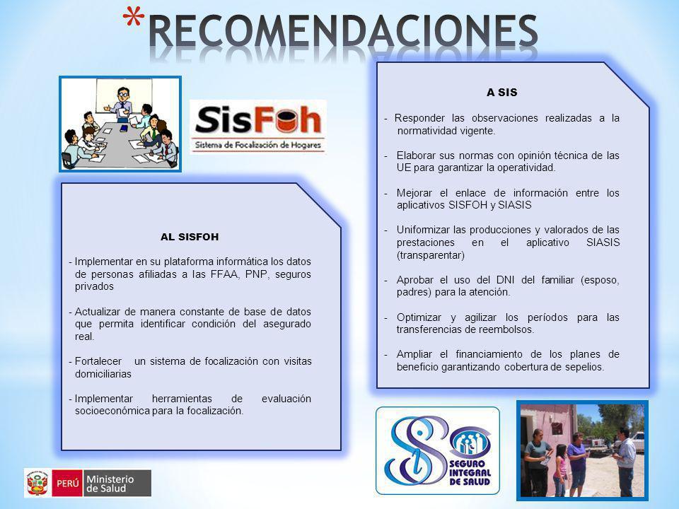 A SIS - Responder las observaciones realizadas a la normatividad vigente.
