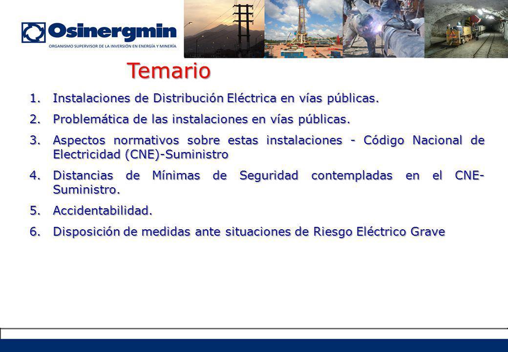 Accidentes por electrocución, inclusive con pérdidas de vida humana.