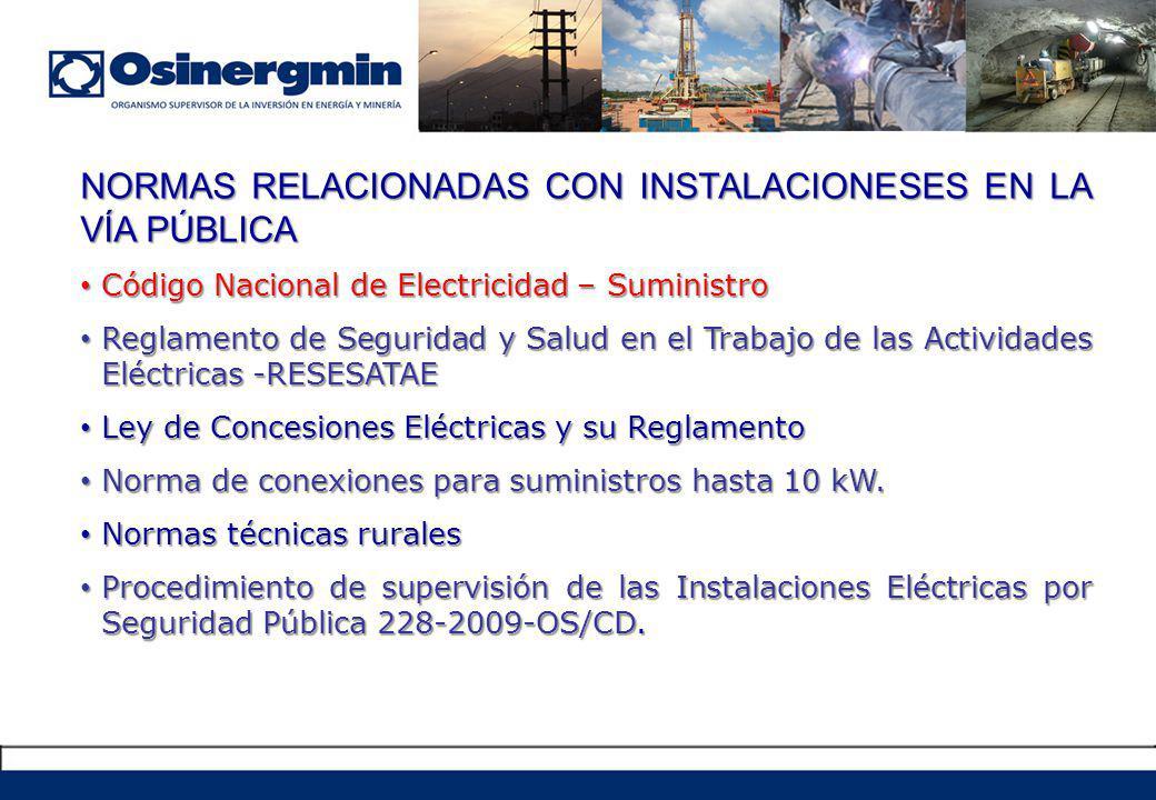 NORMAS RELACIONADAS CON INSTALACIONESES EN LA VÍA PÚBLICA Código Nacional de Electricidad – Suministro Código Nacional de Electricidad – Suministro Reglamento de Seguridad y Salud en el Trabajo de las Actividades Eléctricas -RESESATAE Reglamento de Seguridad y Salud en el Trabajo de las Actividades Eléctricas -RESESATAE Ley de Concesiones Eléctricas y su Reglamento Ley de Concesiones Eléctricas y su Reglamento Norma de conexiones para suministros hasta 10 kW.