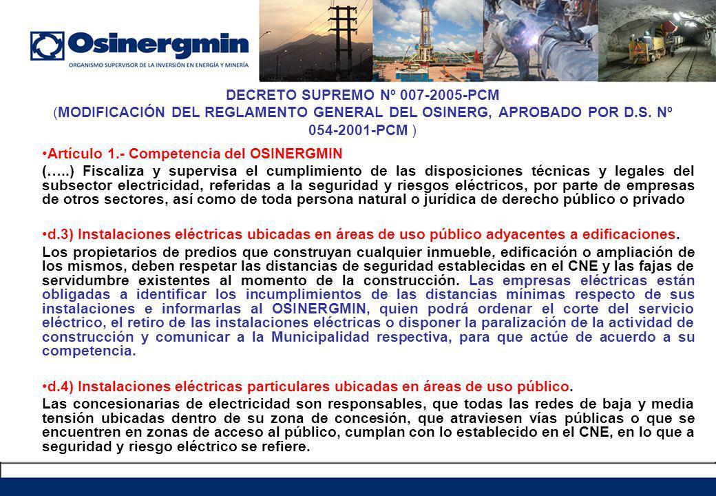 DECRETO SUPREMO Nº 007-2005-PCM (MODIFICACIÓN DEL REGLAMENTO GENERAL DEL OSINERG, APROBADO POR D.S.