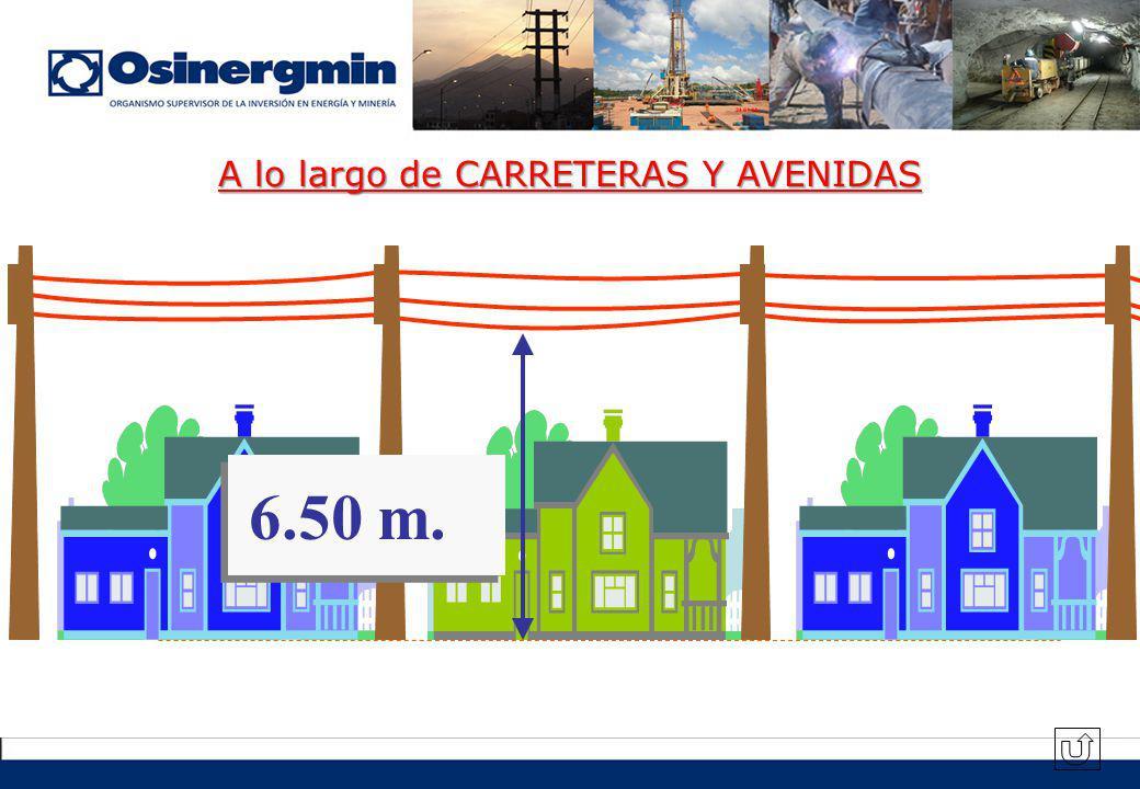 A lo largo de CARRETERAS Y AVENIDAS 6.50 m.