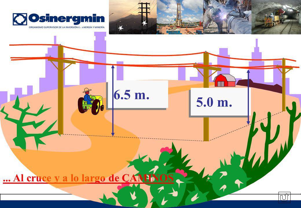 ... Al cruce y a lo largo de CAMINOS 6.5 m. 5.0 m.