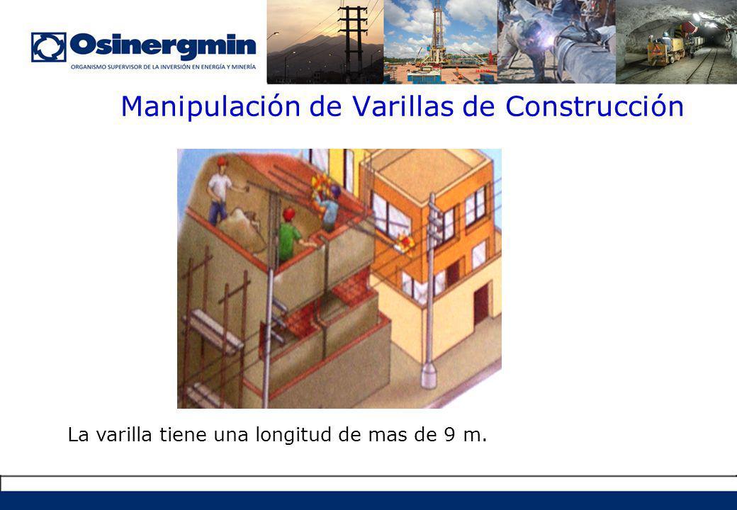 Manipulación de Varillas de Construcción La varilla tiene una longitud de mas de 9 m.