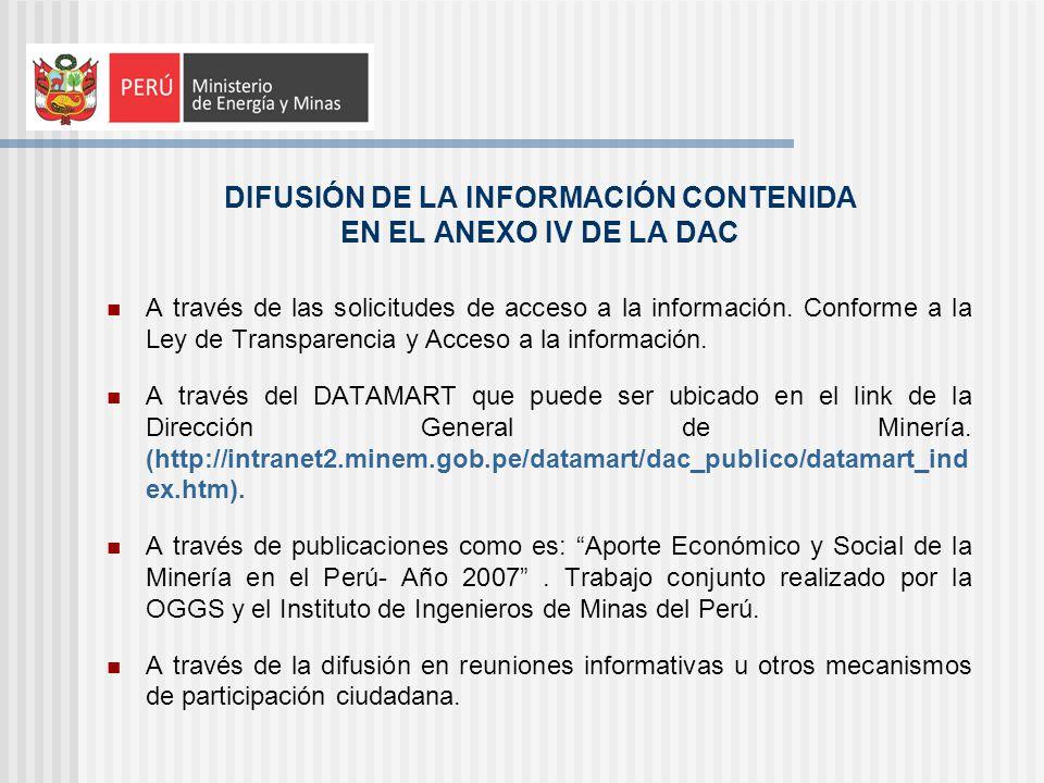 DIFUSIÓN DE LA INFORMACIÓN CONTENIDA EN EL ANEXO IV DE LA DAC A través de las solicitudes de acceso a la información. Conforme a la Ley de Transparenc