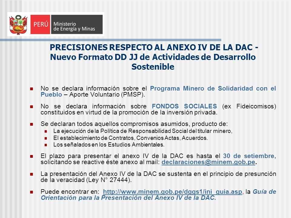 No se declara información sobre el Programa Minero de Solidaridad con el Pueblo – Aporte Voluntario (PMSP). No se declara información sobre FONDOS SOC