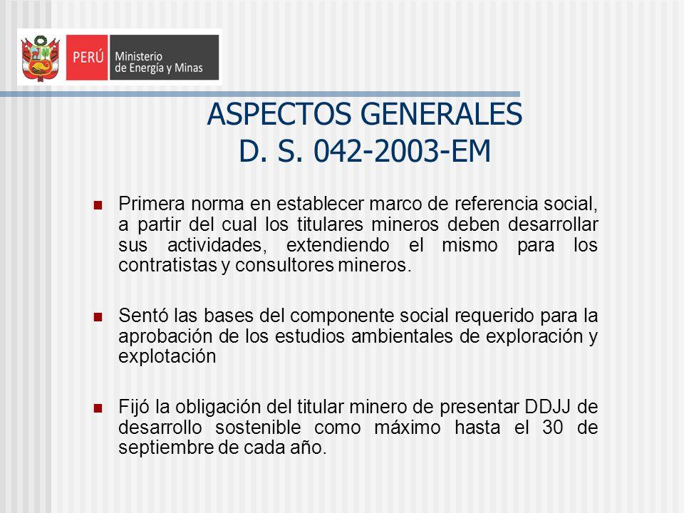 ASPECTOS GENERALES D. S. 042-2003-EM Primera norma en establecer marco de referencia social, a partir del cual los titulares mineros deben desarrollar