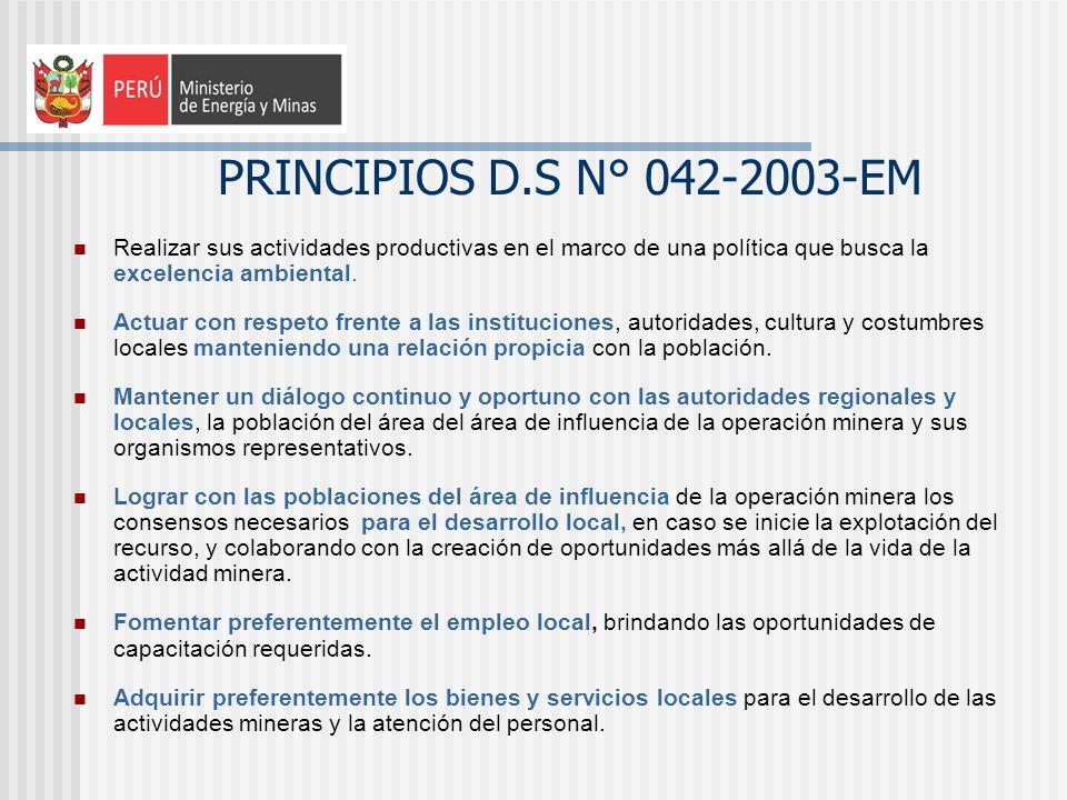 PRINCIPIOS D.S N° 042-2003-EM Realizar sus actividades productivas en el marco de una política que busca la excelencia ambiental. Actuar con respeto f