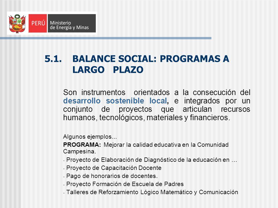 5.1. BALANCE SOCIAL: PROGRAMAS A LARGO PLAZO Son instrumentos orientados a la consecución del desarrollo sostenible local, e integrados por un conjunt
