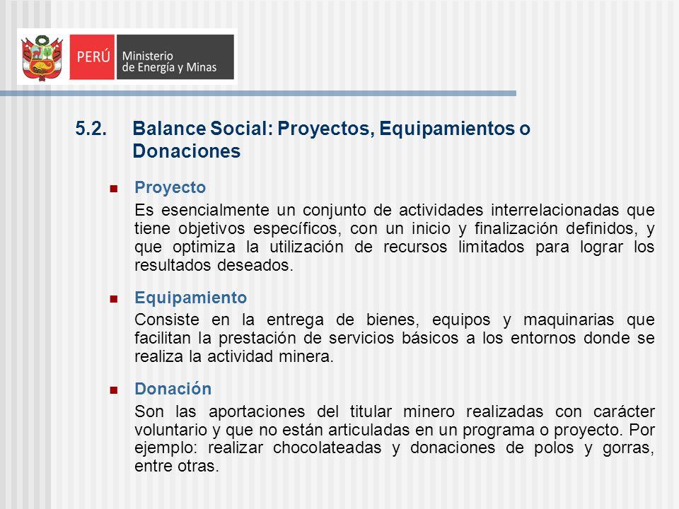 5.2. Balance Social: Proyectos, Equipamientos o Donaciones Proyecto Es esencialmente un conjunto de actividades interrelacionadas que tiene objetivos