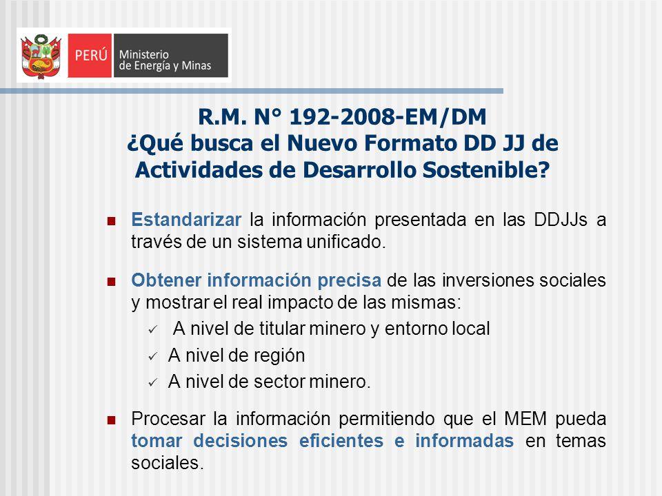 R.M. N° 192-2008-EM/DM ¿Qué busca el Nuevo Formato DD JJ de Actividades de Desarrollo Sostenible? Estandarizar la información presentada en las DDJJs