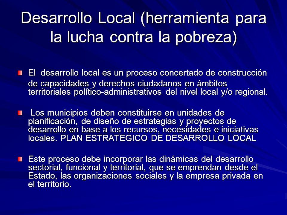 Desarrollo Local (herramienta para la lucha contra la pobreza) El desarrollo local es un proceso concertado de construcción de capacidades y derechos