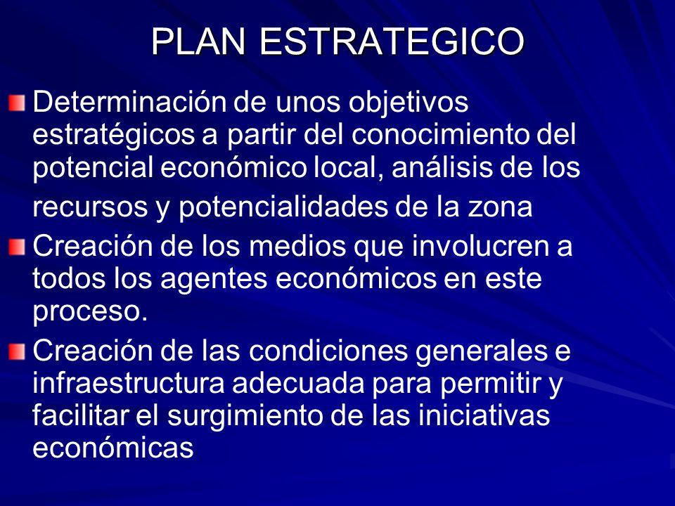 PLAN ESTRATEGICO Determinación de unos objetivos estratégicos a partir del conocimiento del potencial económico local, análisis de los recursos y pote