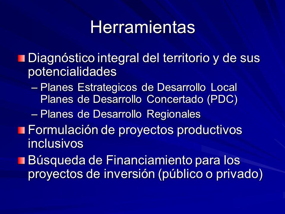 Herramientas Diagnóstico integral del territorio y de sus potencialidades –Planes Estrategicos de Desarrollo Local Planes de Desarrollo Concertado (PD