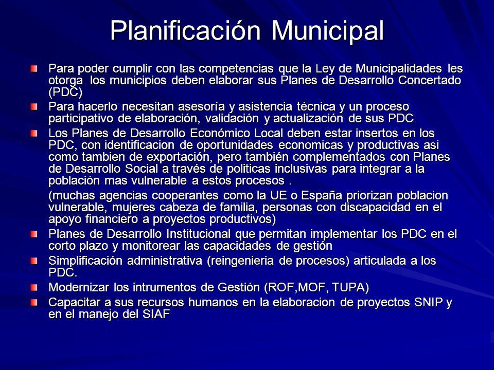 Planificación Municipal Para poder cumplir con las competencias que la Ley de Municipalidades les otorga los municipios deben elaborar sus Planes de D