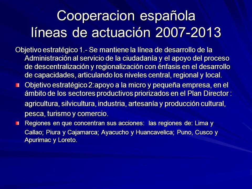Cooperacion española líneas de actuación 2007-2013 Objetivo estratégico 1.- Se mantiene la línea de desarrollo de la Administración al servicio de la