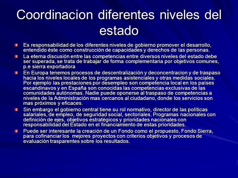 Coordinacion diferentes niveles del estado Es responsabilidad de los diferentes niveles de gobierno promover el desarrollo, entendido éste como constr