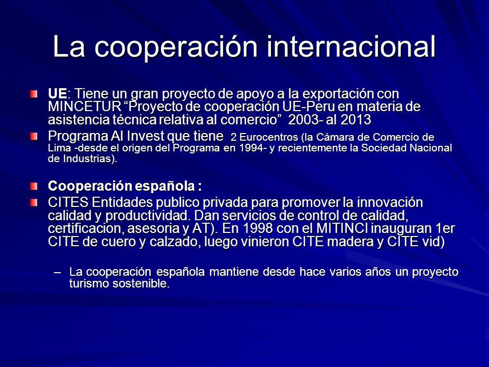 La cooperación internacional UE: Tiene un gran proyecto de apoyo a la exportación con MINCETUR Proyecto de cooperación UE-Peru en materia de asistenci