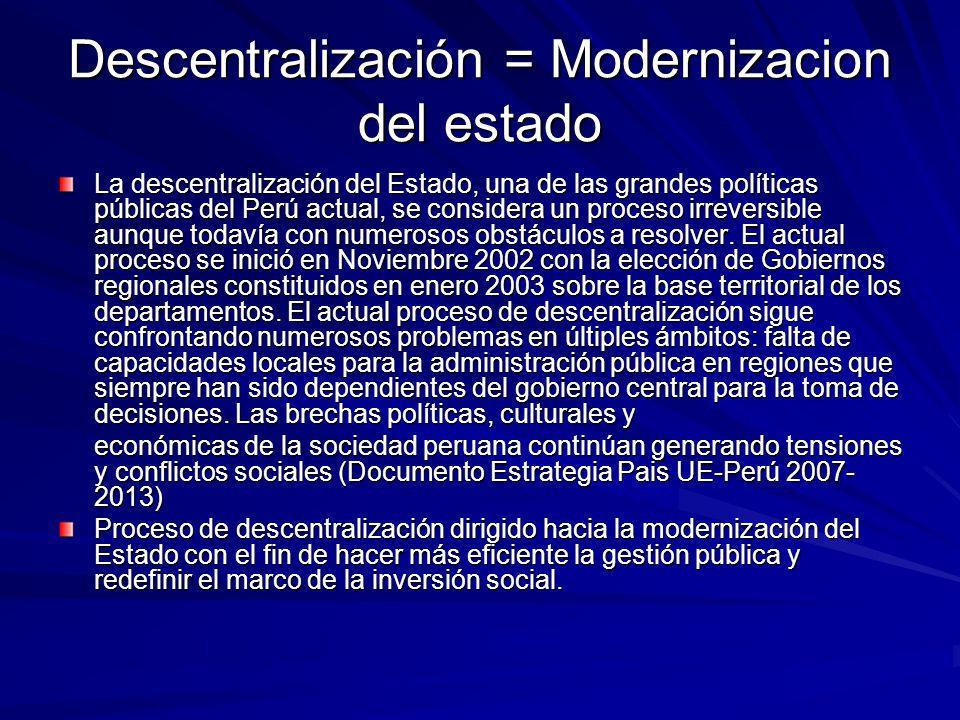 Descentralización = Modernizacion del estado La descentralización del Estado, una de las grandes políticas públicas del Perú actual, se considera un p