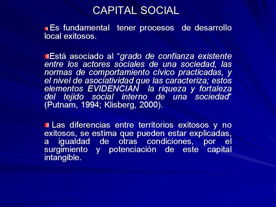 CAPITAL SOCIAL Es fundamental tener procesos de desarrollo local exitosos. Está asociado al grado de confianza existente entre los actores sociales de