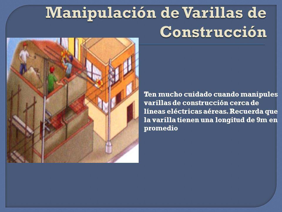 Manipulación de varillas de Construcción, palos, alambres y tubos cerca de líneas de MT.(DMS/CNE) Construcción de edificaciones. (DMS/CNE) Robo de con