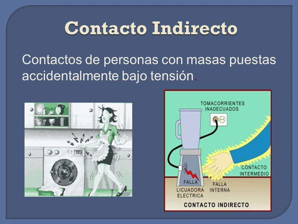 Contacto Directo Se produce cuando una persona toca o se pone en contacto involuntario o accidentalmente con un conductor, instalación, elemento eléct