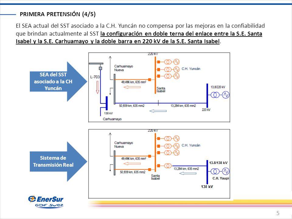 5 PRIMERA PRETENSIÓN (4/5) SEA del SST asociado a la CH Yuncán Sistema de Transmisión Real El SEA actual del SST asociado a la C.H. Yuncán no compensa