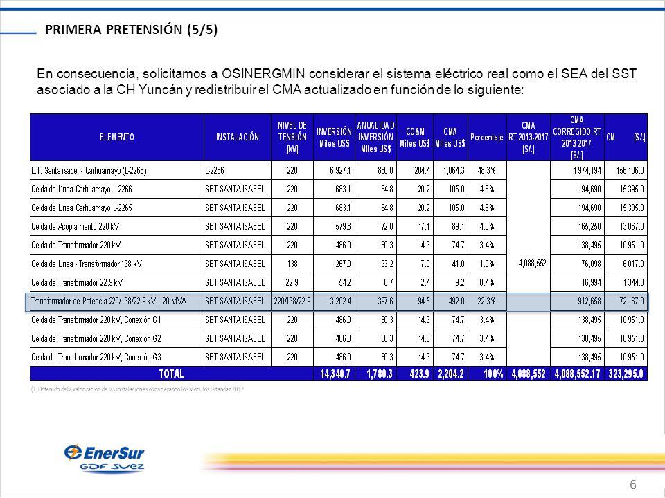 6 PRIMERA PRETENSIÓN (5/5) En consecuencia, solicitamos a OSINERGMIN considerar el sistema eléctrico real como el SEA del SST asociado a la CH Yuncán y redistribuir el CMA actualizado en función de lo siguiente: