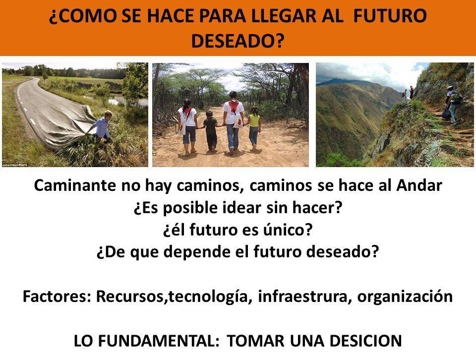 ¿COMO SE HACE PARA LLEGAR AL FUTURO DESEADO? Caminante no hay caminos, caminos se hace al Andar ¿Es posible idear sin hacer? ¿él futuro es único? ¿De