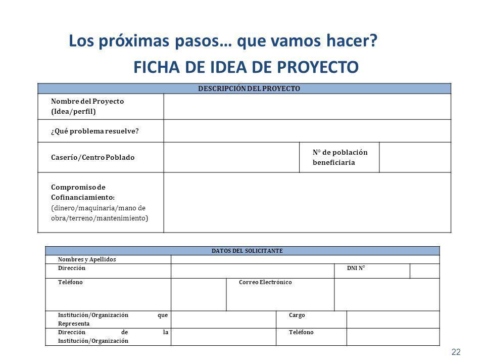 22 Los próximas pasos… que vamos hacer? FICHA DE IDEA DE PROYECTO DESCRIPCIÓN DEL PROYECTO Nombre del Proyecto (Idea/perfil) ¿Qué problema resuelve? C