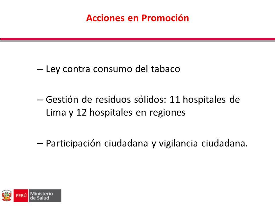 Acciones en Promoción – Ley contra consumo del tabaco – Gestión de residuos sólidos: 11 hospitales de Lima y 12 hospitales en regiones – Participación