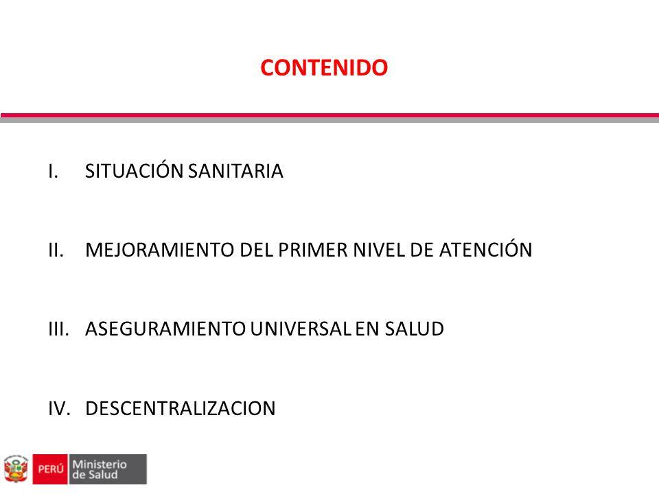 I.SITUACIÓN SANITARIA II.MEJORAMIENTO DEL PRIMER NIVEL DE ATENCIÓN III.ASEGURAMIENTO UNIVERSAL EN SALUD IV.DESCENTRALIZACION CONTENIDO