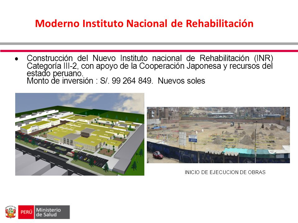 Moderno Instituto Nacional de Rehabilitación Construcción del Nuevo Instituto nacional de Rehabilitación (INR) Categoría III-2, con apoyo de la Cooper