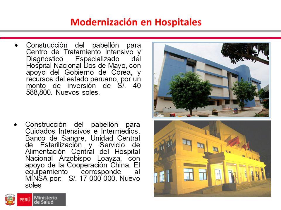 Modernización en Hospitales Construcción del pabellón para Cuidados Intensivos e Intermedios, Banco de Sangre, Unidad Central de Esterilización y Serv