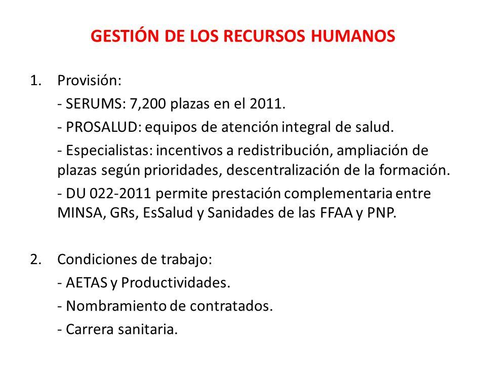 GESTIÓN DE LOS RECURSOS HUMANOS 1.Provisión: - SERUMS: 7,200 plazas en el 2011. - PROSALUD: equipos de atención integral de salud. - Especialistas: in