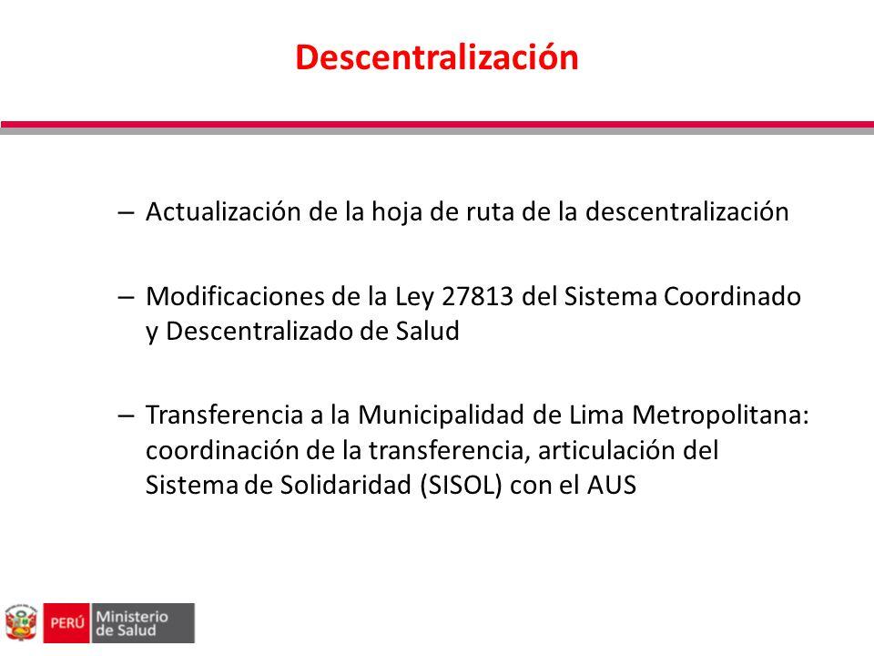 Descentralización – Actualización de la hoja de ruta de la descentralización – Modificaciones de la Ley 27813 del Sistema Coordinado y Descentralizado
