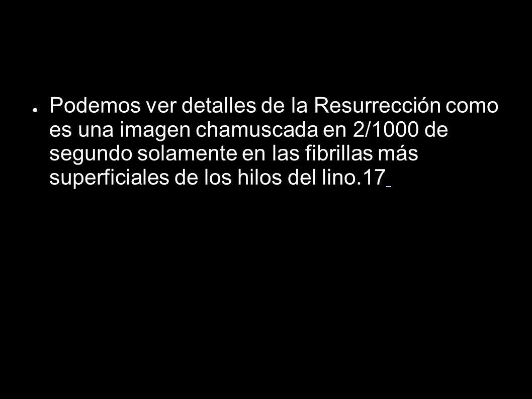Podemos ver detalles de la Resurrección como es una imagen chamuscada en 2/1000 de segundo solamente en las fibrillas más superficiales de los hilos d