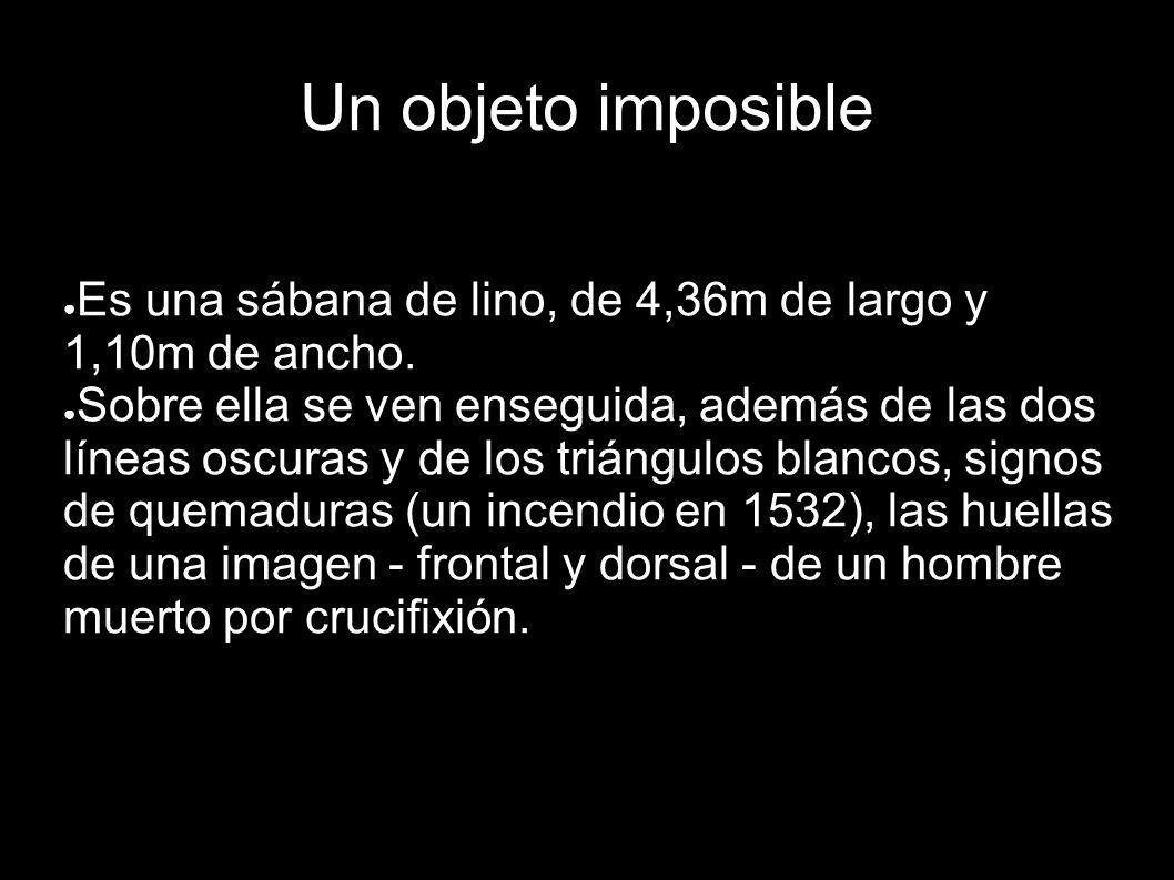 Un objeto imposible Es una sábana de lino, de 4,36m de largo y 1,10m de ancho. Sobre ella se ven enseguida, además de las dos líneas oscuras y de los