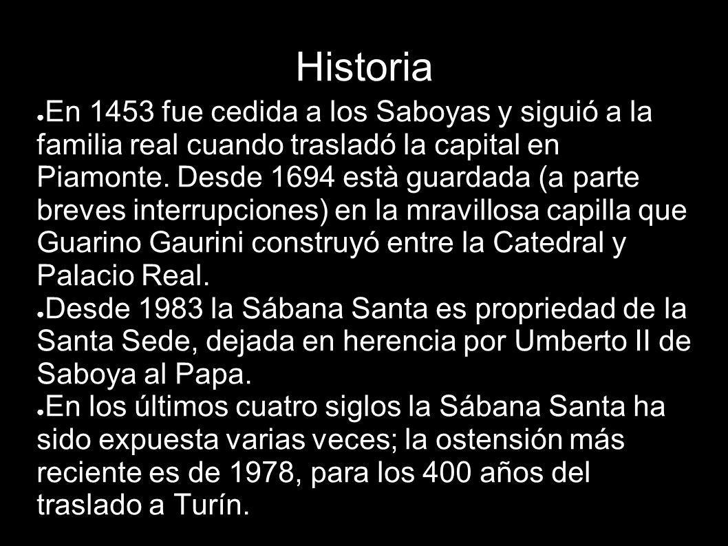 Historia En 1453 fue cedida a los Saboyas y siguió a la familia real cuando trasladó la capital en Piamonte. Desde 1694 està guardada (a parte breves