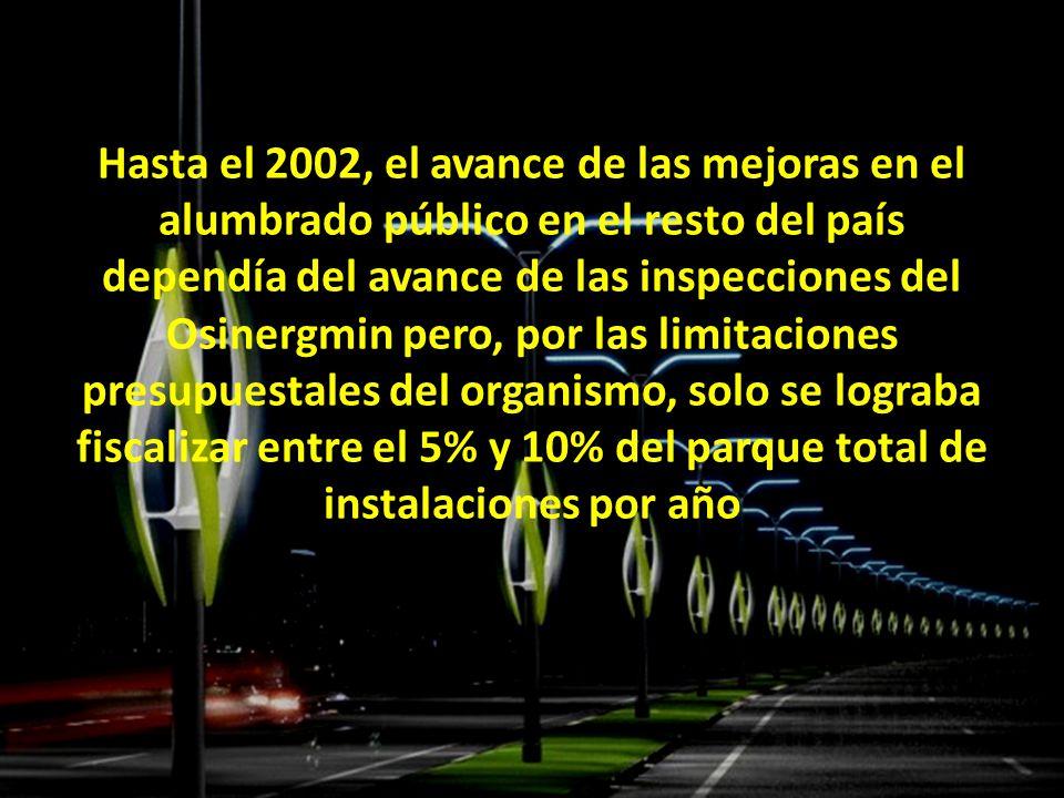 Hasta el 2002, el avance de las mejoras en el alumbrado público en el resto del país dependía del avance de las inspecciones del Osinergmin pero, por