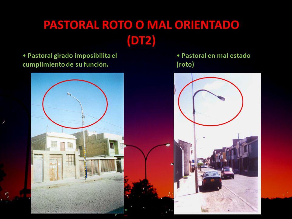 PASTORAL ROTO O MAL ORIENTADO (DT2) Pastoral girado imposibilita el cumplimiento de su función. Pastoral en mal estado (roto)
