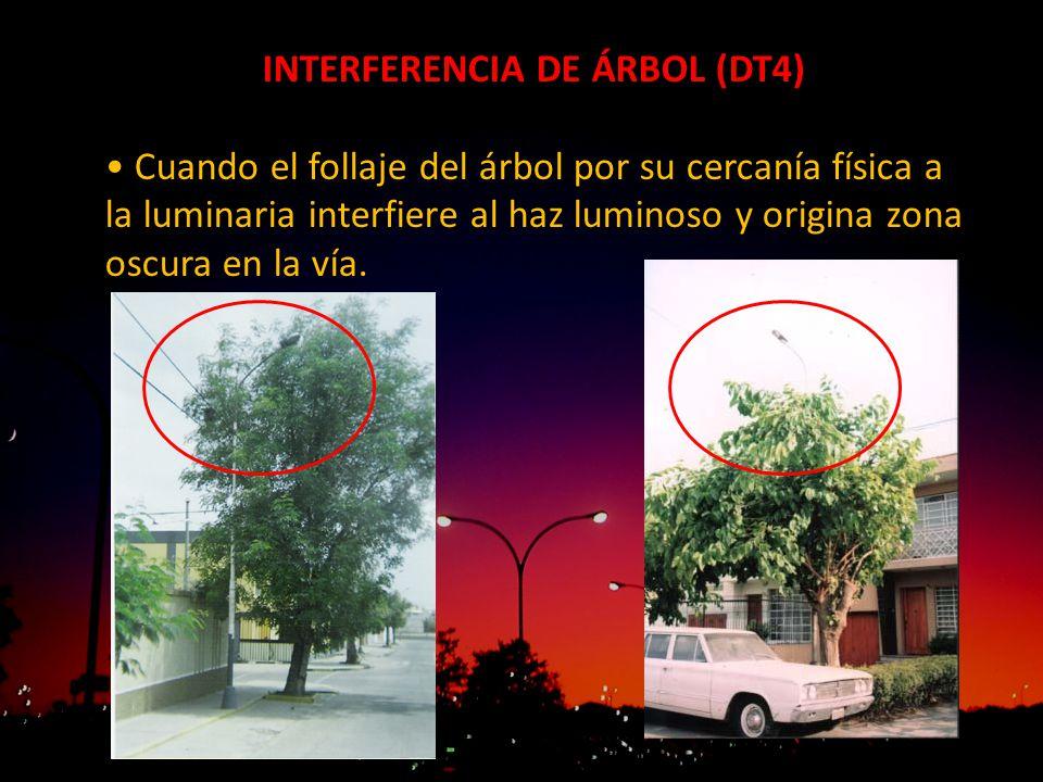 INTERFERENCIA DE ÁRBOL (DT4) Cuando el follaje del árbol por su cercanía física a la luminaria interfiere al haz luminoso y origina zona oscura en la